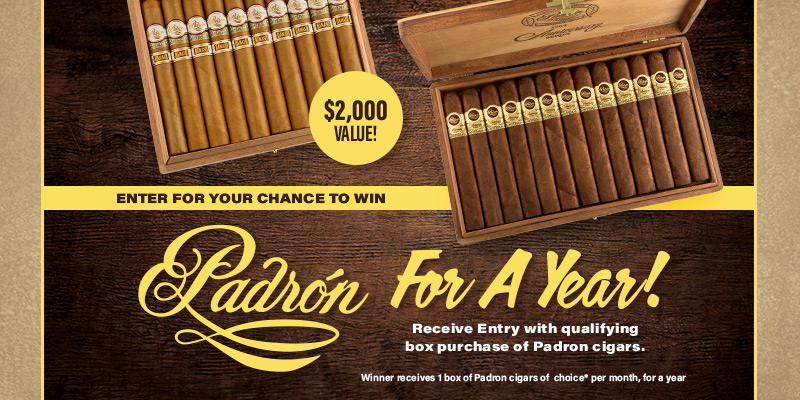 ENTER TO WIN PADRON FOR A YEAR!