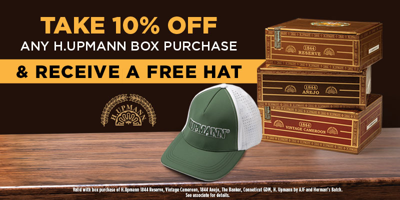 10% OFF H. UPMANN & FREE HAT!