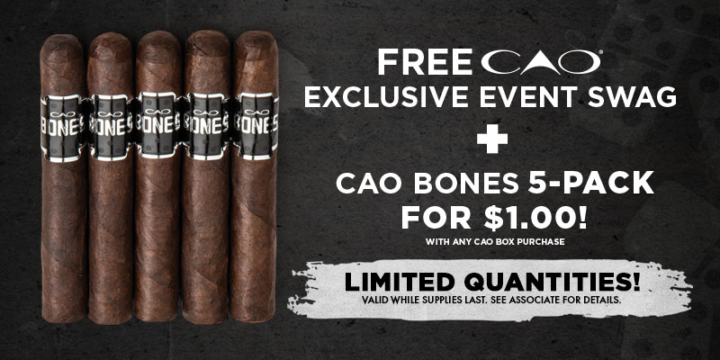 FREE CAO EXCLUSIVE SWAG + 5 PACK FOR $1